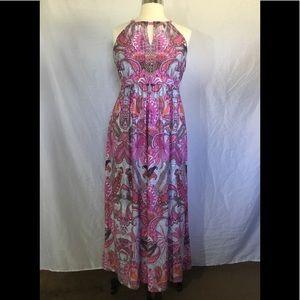 Pink Multi-Colored Paisley Design Sleeveless Maxi